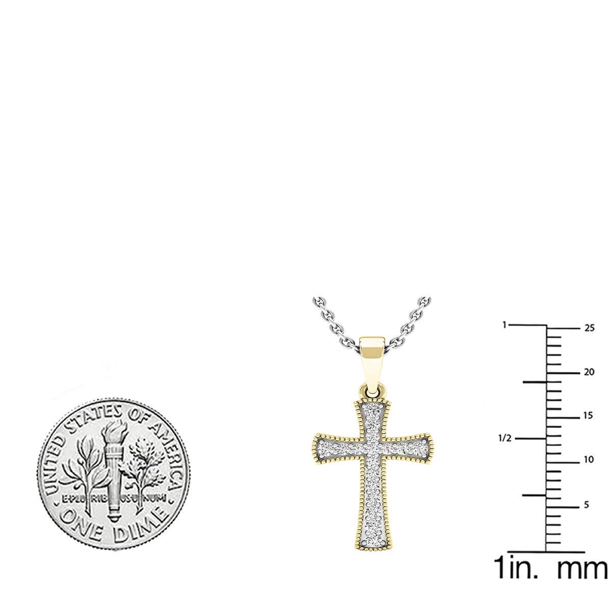10K Gold Round White Diamond Mens Ladies Unisex Cross Pendant ctw Dazzlingrock Collection 0.20 Carat