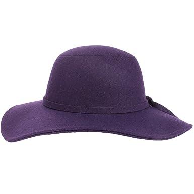 87f89f86cda196 Purple Wool Felt Wide Brim Floppy Hat: Amazon.co.uk: Clothing