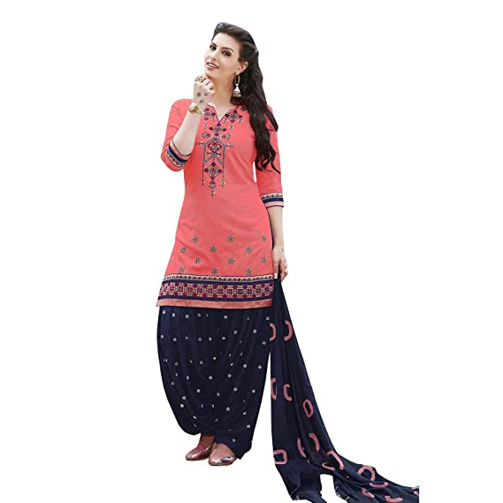 fa16a55c Sheknows Kessi Fabrics Women's Cotton Patiala Salwar Suit Unstitched Salwar  Suit (PTHSK7561PA_42, Peach and Blue, Free Size): Amazon.in: Clothing & ...