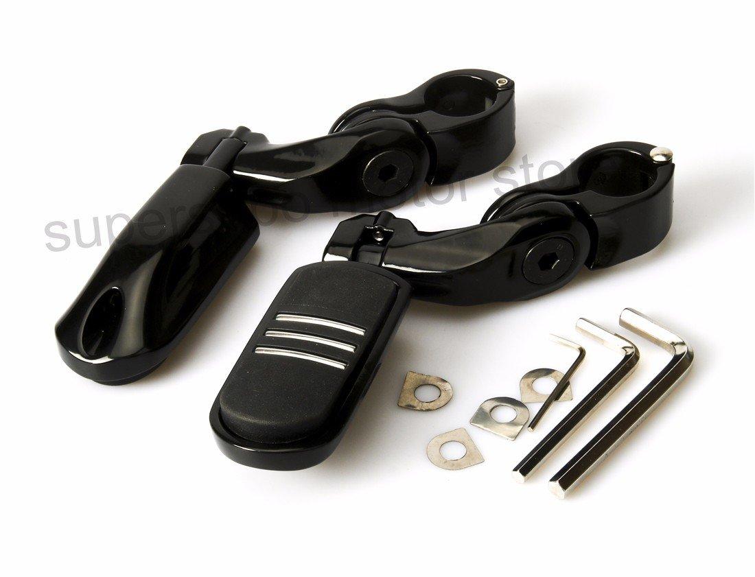 Moto 32mm 1-1/4'' Black Short Adjustable Engine Guard Highway Foot Pegs For Harley Honda