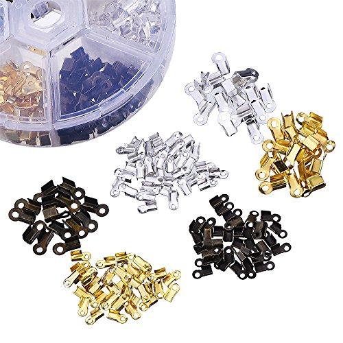 [해외]Outus 600 조각 2 개의 크기 철 겹을 코드 끝 가죽을위한 보석 사실 인정/Outus 600 Pieces 2 Size Iron Fold Over Cord Ends Jewelry Findings for Leather