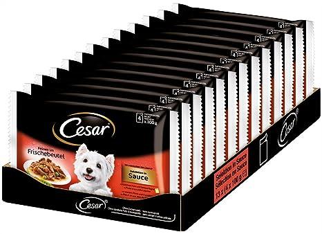 Cesar Comida en Bolsita para Perro con Buey -Pack de 4 x 100 g -