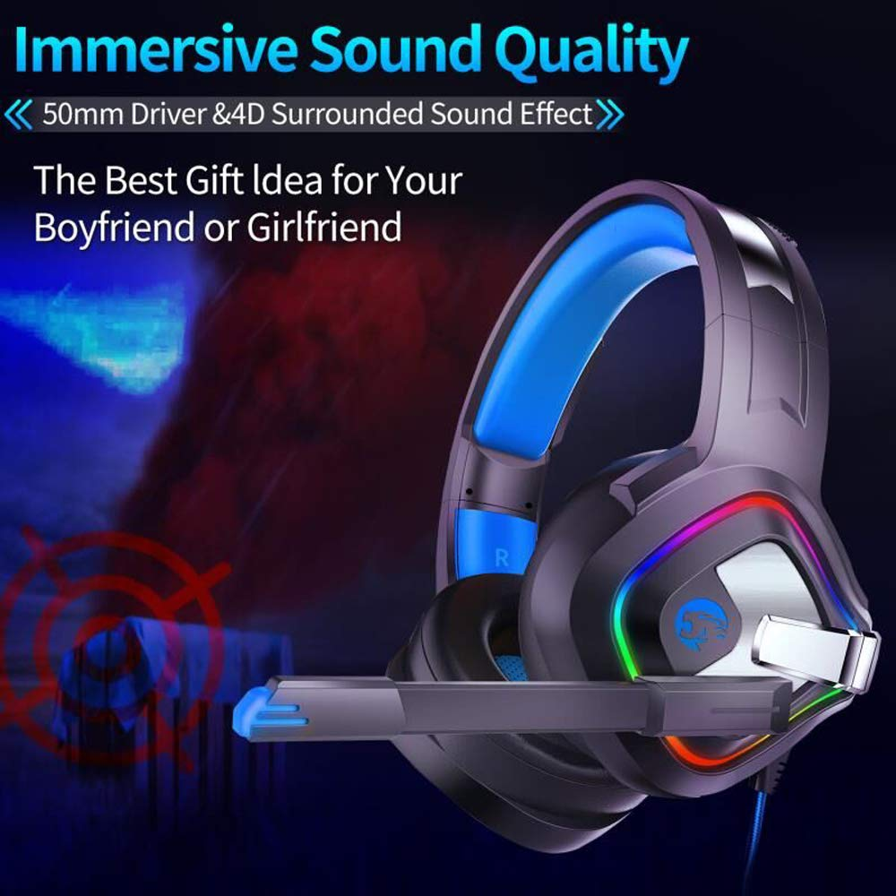 Likorlove Gaming Headset for Xbox one PS4, 4D Surround Sound Over Ear Headphones with Noise Cancelling Mic, LED Lights, Volume Control for PC Laptop Mac iPad Nintendo Switch
