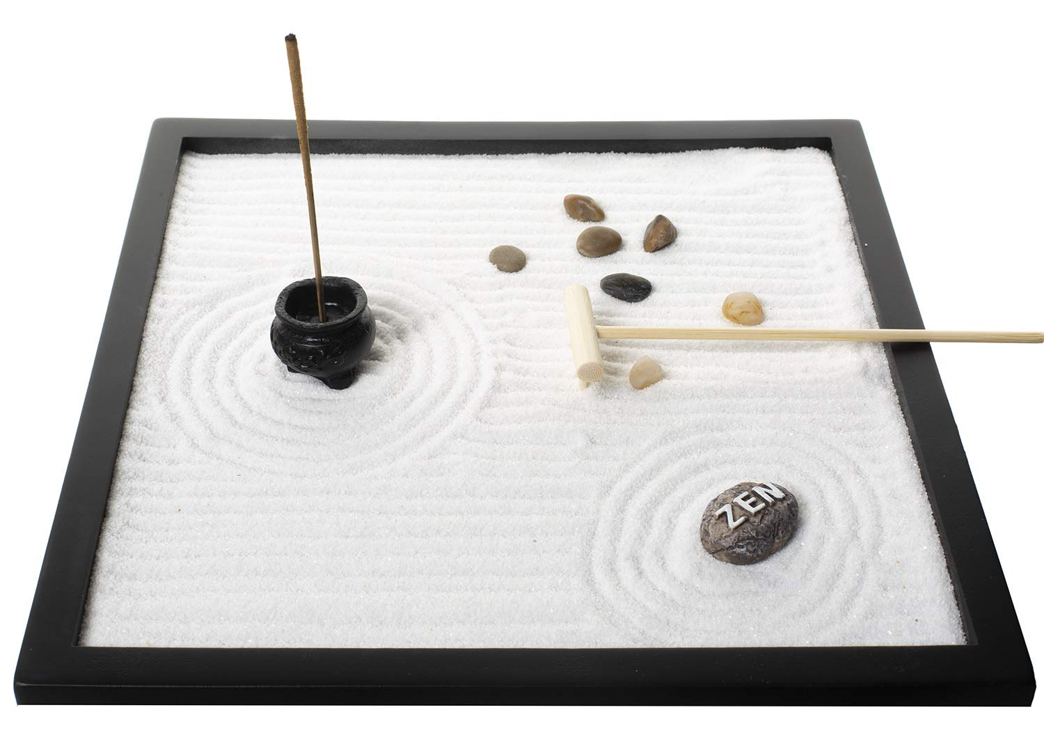 Tabletop Sand Zen Garden with Rocks and rake for Your Desk from Tatum & Shea by Tatum & Shea (Image #4)