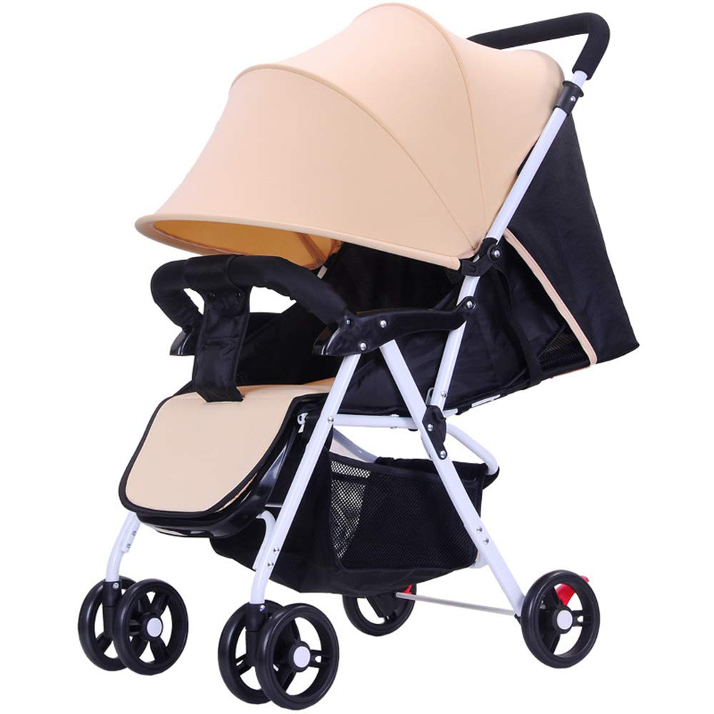 SCJ Easy to Carry Baby Stroller, Breathable Anti-Mosquito Baby Pushchair, Shock Absorption/Folding/Lightweight/Environmentally Friendly - with Mosquito net, mat,Yellow