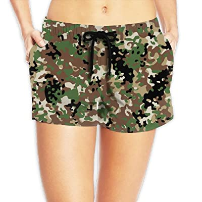 Usieis Camouflage Patterns Surfing Pocket Elastic Waist Women's Beach Pants Shorts Beach Shorts Swim Trunks