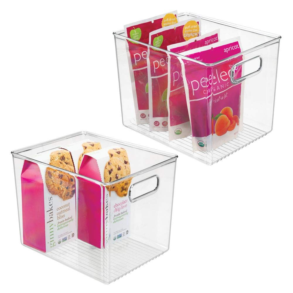 mDesign Plastic Food Storage Container Bin with Handles - for Kitchen, Pantry, Cabinet, Fridge, Freezer - Organizer for Snacks, Produce, Vegetables, Pasta - BPA Free - Medium, 2 Pack - Clear