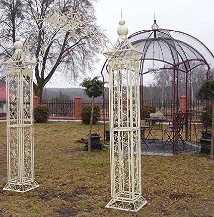 Pérgola Victoriano puerta romántico Metal envejecido arco en color blanco Retro: Amazon.es: Hogar