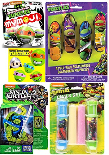 Teenage Mutant Ninja Turtles Stealth Leo Mega Figure + Mystery Funko Mymoji Action Vinyl & Sidewalk Chalk - Skateboard Pull-Back Racers 4 Pack - Leonardo / Raphael / Michelangelo / Donatello fun set