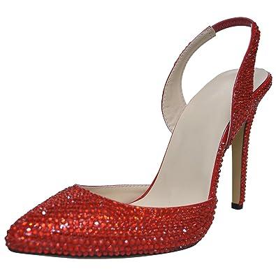 f2d5d2416c55 Amazon.com | SHOELIN High Heels Sandals, Sparkly Rhinestone Heels Handmade  Pointy Toe Stiletto Slingback Evening Dress Pump | Heeled Sandals