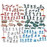 124 Military Figures and Accessories - Toy Army Soldiers in 4 Colors, World War II Playset with 4 Flags, Planes, and Tanks