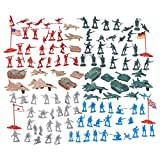 world war two weapons - 124 Military Figures and Accessories - Toy Army Soldiers in 4 Colors, World War II Playset with 4 Flags, Planes, and Tanks