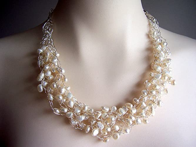Amazoncom Pearl Wire Crochet Necklace Wedding Necklace Bridal