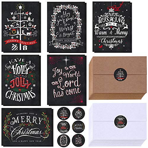 Winlyn 120 Sets Christmas Cards Holiday Cards with Envelopes Stickers Assortment Bulk 6 Designs of Chalkboard Merry Christmas Cards Vintage Blank Holiday Greeting Cards for Xmas Season Festival (Cards Greetings Christmas Seasons)