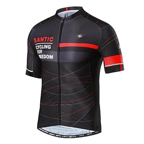 67cf3f1235b Santic Cycling Jersey Men Breathable Bicycle Shirt Full Zip Bike Short  Sleeve Shirts with Pockets