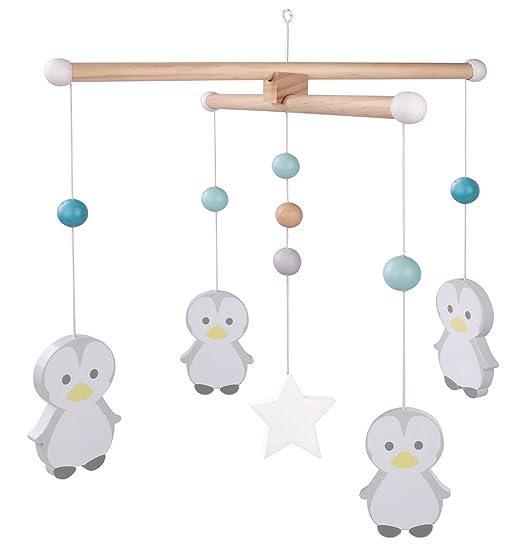 Holz Mobile Maus Blau Kinderzimmer Deko Kinder Baby Holzmobile