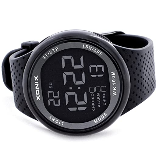 Amazon.com: 100m Water Resistant Multifunction Mens Black Rubber Strap Digital Luxury Sport Watch GJ-007A: XONIX: Watches