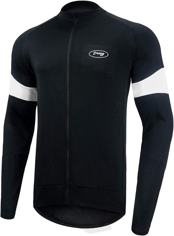 Dooy Men's Cycling Bike Jersey Long Sleeves Full Zipper Biking Shirts with Pockets, Breathable MTB Shirt Basic Series