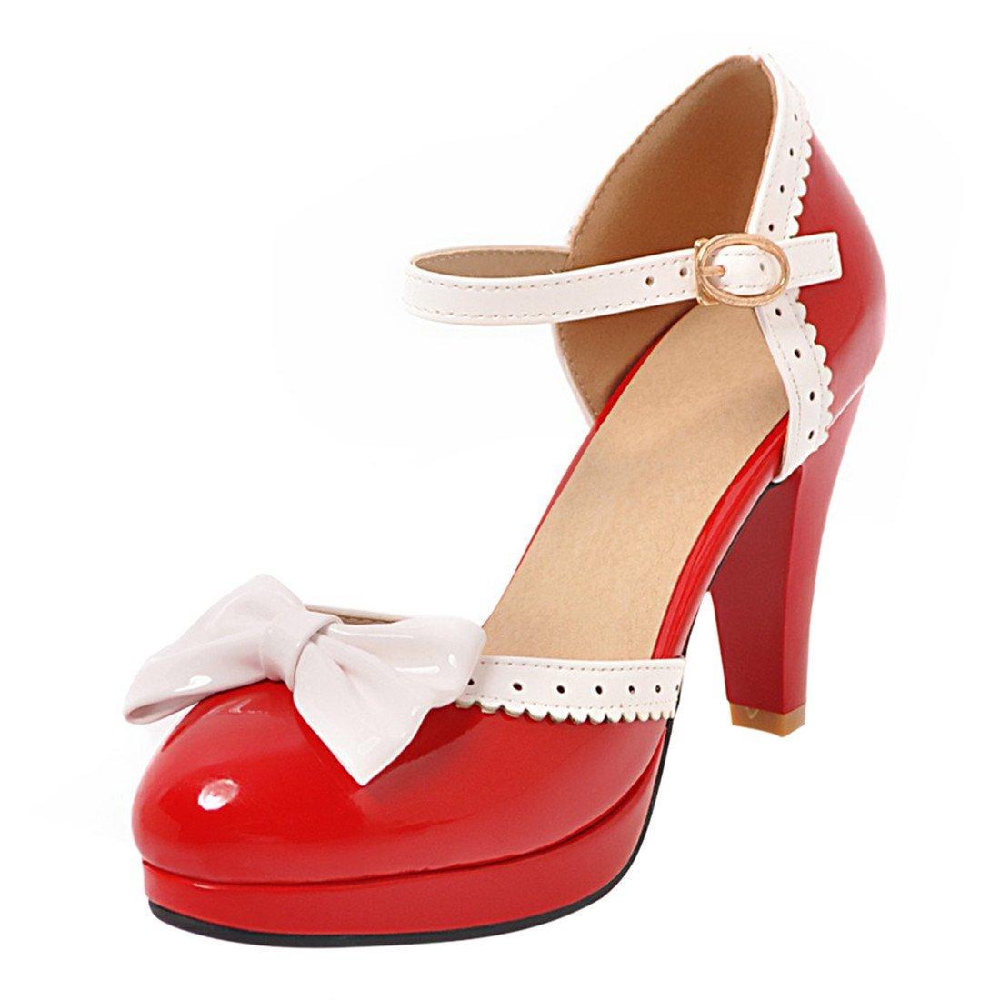 YE Damen Ankle Strap Pumps Rockabilly Lack High Heels Blockabsatz Geschlossen mit Riemchen und Schleife Elegant Süß Schuhe  35 EU|Rot