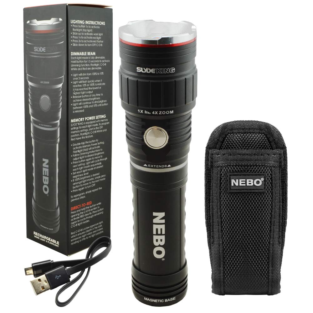 NEBO SLYDE KING 500 Lumen Rechargeable LED Flashlight Bundle with SLYDE Holster by NEBO
