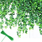 AUERVO Artificial Ivy, 12 Pack Fake Ivy (Each 80 inch) Fake Leaves Plants Greenery Garlands Hanging for Wedding Party Garden Wall Decoration With 24pcs Cable Ties (12)