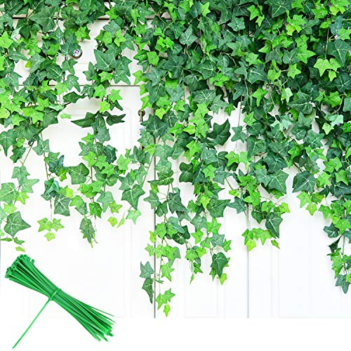 YOUYOUTE Artificial Ivy, 12 Pack Fake Ivy Plant Vine Leaf Leaves Greenery Garlands Hanging (Each 80 inch) for Wedding Party Garden Wall Decoration with Cable Ties (12)