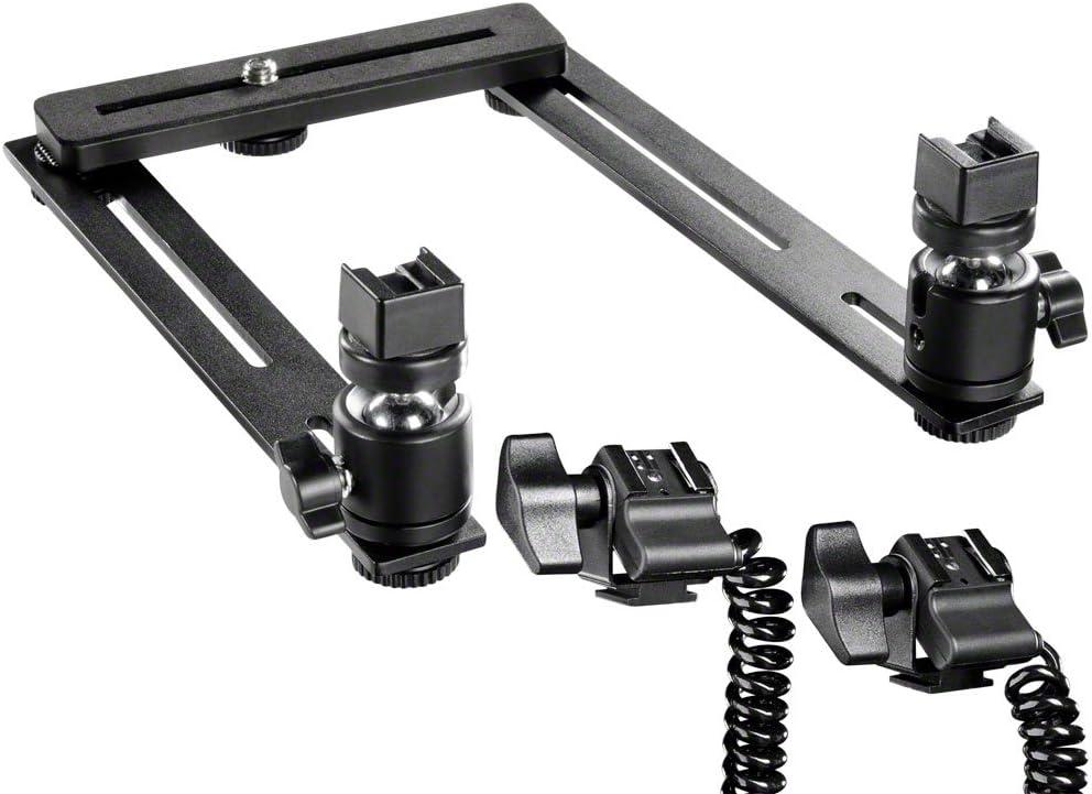 Walimex Makro Basic Blitzschiene mit Y-Blitzkabel f/ür Canon Speedlite
