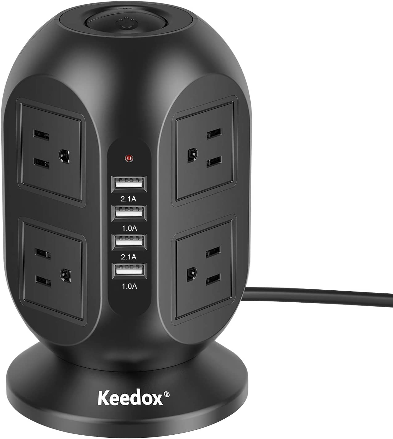 Power Strip Tower Keedox Surge Protector 8 Outlet 4 USB Ports Electric Charging Station, Multi Plug Outlet Tower with 10Ft Long Extension Cord