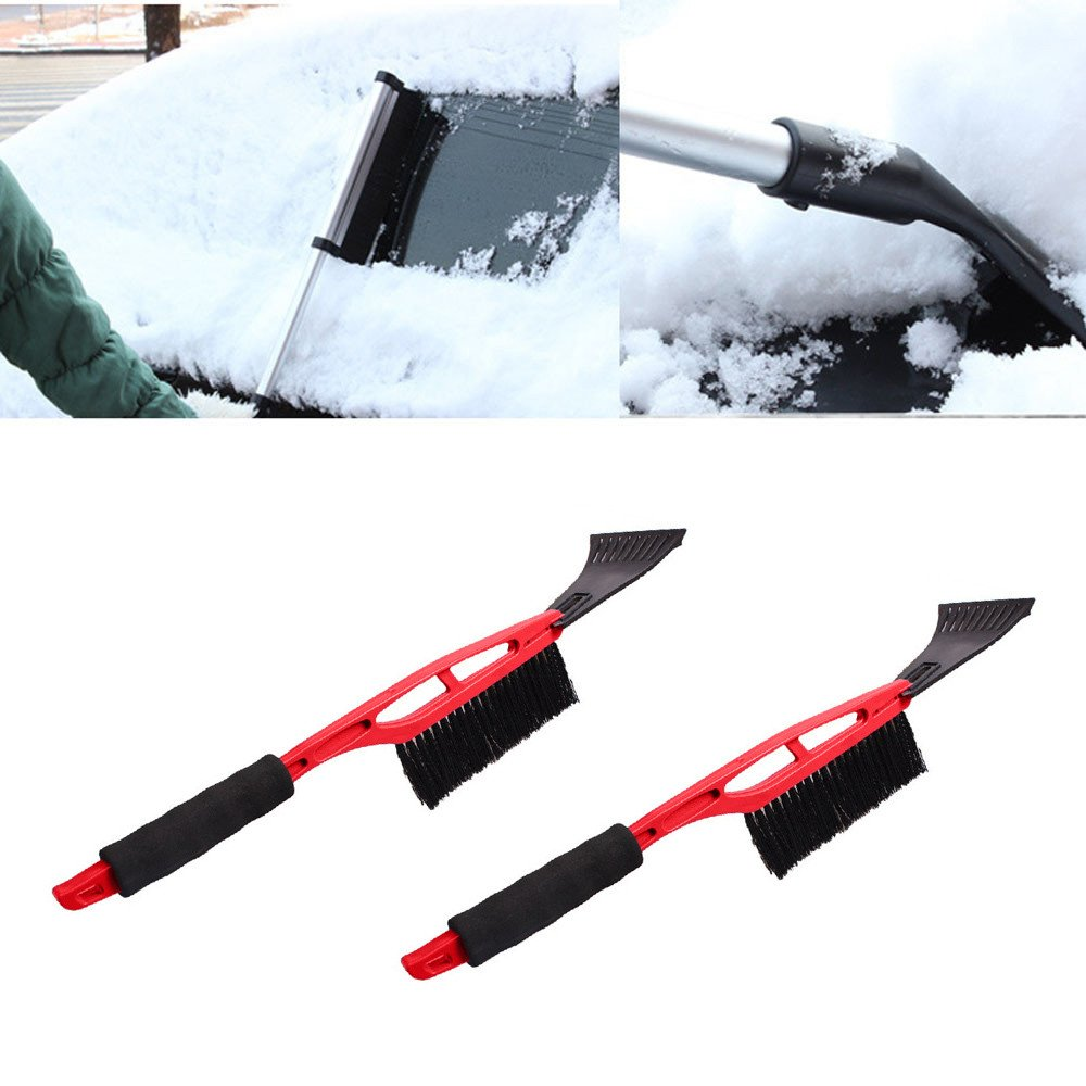 lotus.flower Snow Brush & Ice Scraper Car Brush - 2 in 1 Snow Broom Shovel Removal Auto Snow Removal Car Truck SUV Windshield Clean Tools (Red)