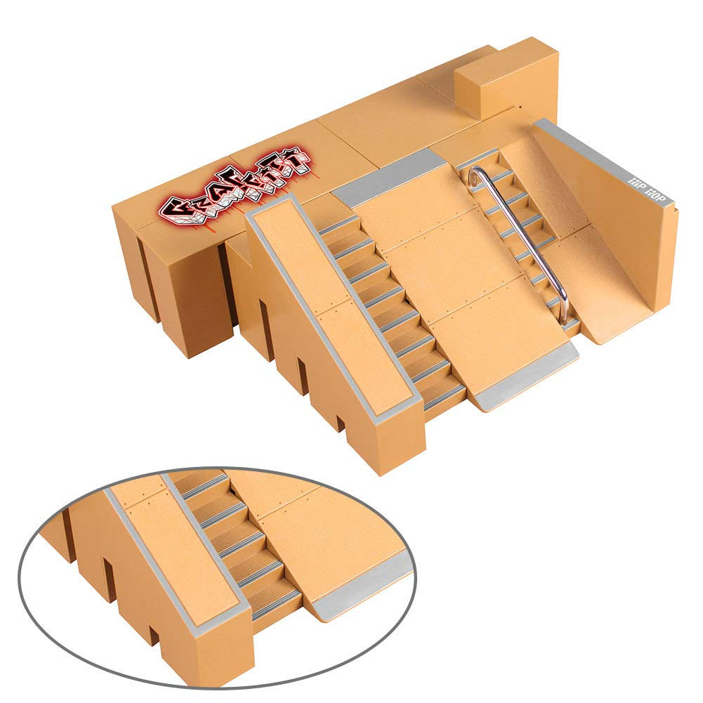 1 juego de monopatín dedo Mini Kit Finger Skate Park Kit de rampa de piezas con las Juntas de dedo para Finger monopatín último Formación Parques ...