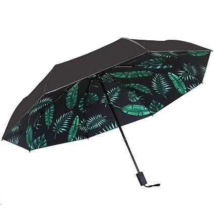 DUHUI Paraguas Mujer Plegable Dos Plástico Negro Protector Solar Femenino Anti-UV Negro, Blanco