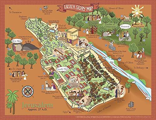 Easter Story Map Poster- Map of Jerusalem- Events of Jesus' Last Week - 17
