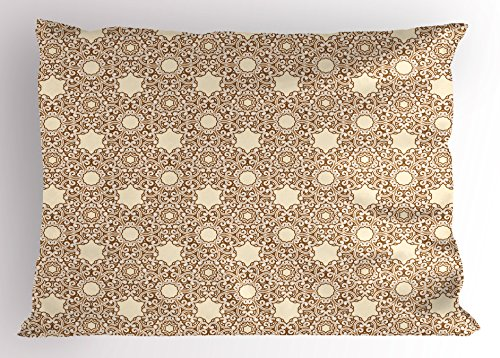Lace Pillowcase Standard (Lunarable Ivory Pillow Sham, Arabesque Motifs of Eastern Cultures Ornamental Lace Patterned Swirled Lines, Decorative Standard Size Printed Pillowcase, 26 X 20 Inches, Beige Ivory Brown)