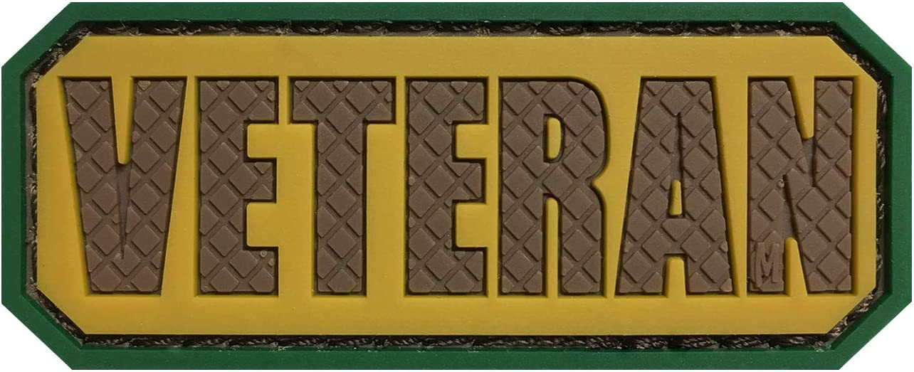 Morton Home Veteran PVC Hook and Loop Morale Patch Military Combat Armband Clothing Badge for Jackets Jeans Hat Cap (Tan/Dark Brown)