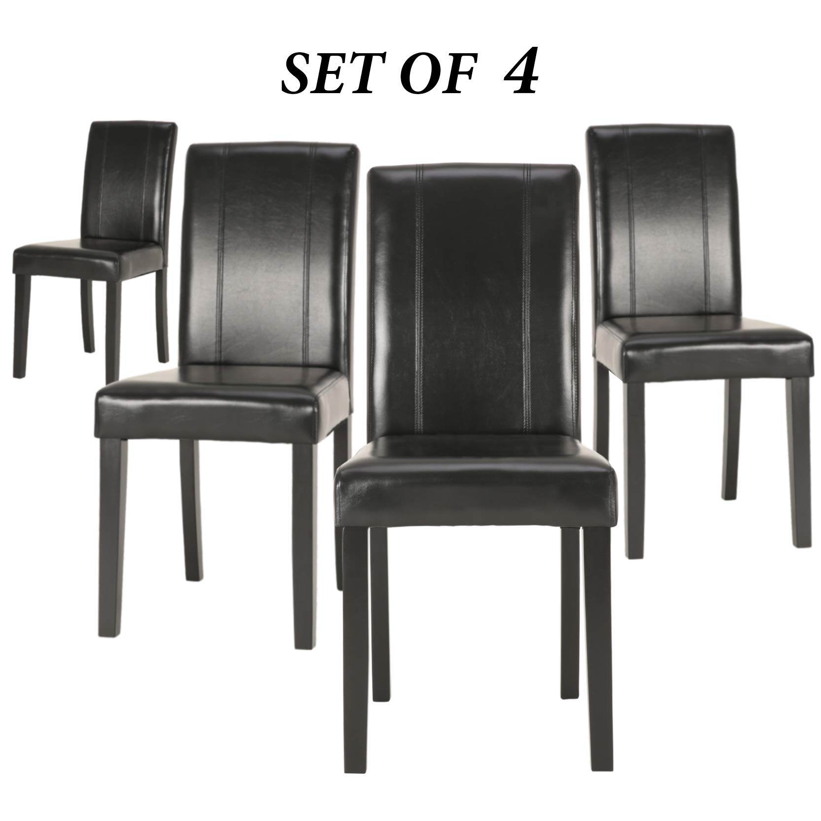 Upholstered Dining Chairs with Solid Wooden Legs, Modern Stylish PU Leather Padded Parsons Chairs Set of 4 (Black) by GOTMINSI