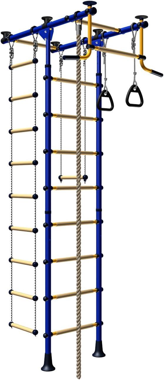 Escalera de Juegos para Niños, Conjunto Desde el Suelo Hasta el Techo. Conjunto de Interior para Entrenamiento Deportes de Gimnasio con Equipamiento y Accesorios: Barra Trapecio Oscilante, Escalera, Cuerda para Trepar y