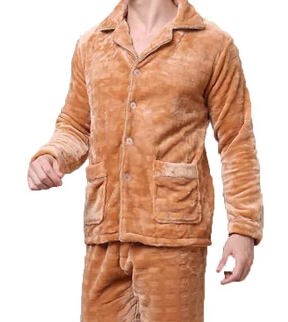 HEJIAYAN Pijama De Franela De Los Hombres Grandes Yardas Engrosadas Invierno Cálido Dos Juego Pijamas De