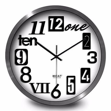 Maivasyy Reloj de pared redondo de metal Inglés Salón de Moda creativa personalidad minimalista moderno dormitorio