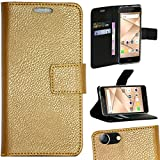 Zaoma Diary Wallet Type Flip Flap Case Cover for Micromax Canvas 2 2017 Q4310 Unbreakable - Softy Gold