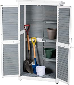 Outdoor Garden Wooden Storage Cabinet Furniture Waterproof Tool Shed Blinds Lockers Nature Wood Include Anti-overturning Foot Nails