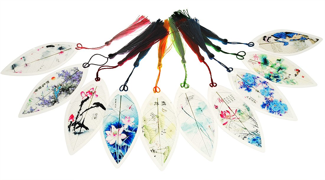 10 Pcs Handmade Leaf Vein Chinese Style Bookmarks Painting Flowers Theme For Kids School Study Decoration Souvenirs Business Christmas Birthday Gift