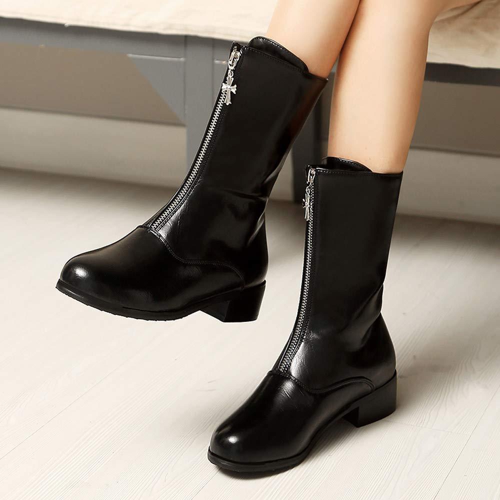 SCHOLIEBEN Boots Stiefel Damen Schwarz Chelsea Ankle Winter Flach Plateau Leder Lack Latex Kurzschaft Halbschaft Halbhohe Combat Desert Chukka Halbhohe Platform