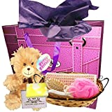 Ladies Spa gift set - sisal back scrubber, pink bath sponge, small wooden hairbrush, pumice stone and wooden roller massage tool, as well as an organic soap, gift bag and teddy bear