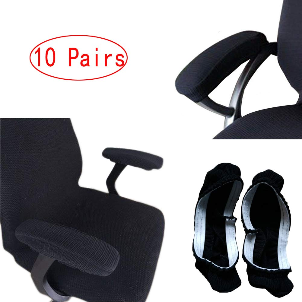 LJNGG 10 Pairs Computer Office Chair Seat Armrest Arm Rest Cover Slipcovers Covers Protector Removable Removable (Black Set of 10) by LJNGG