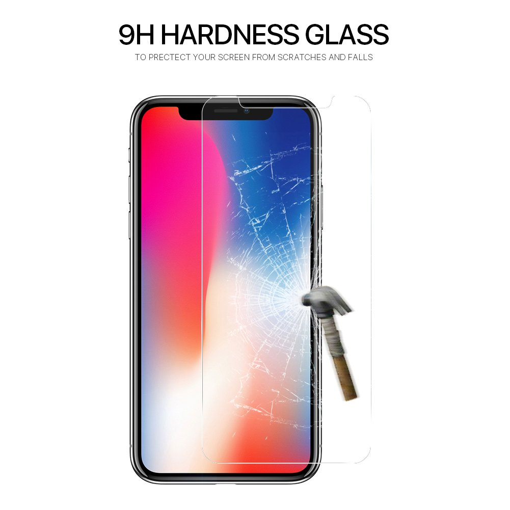 Tembin 2 Pack Clear Tempered Glass Screen Protector for iPhone X Case Friendly 9H Hardness Anti-Oil/Scratch/Fingerprint Screen Film for Apple iPhone X/10