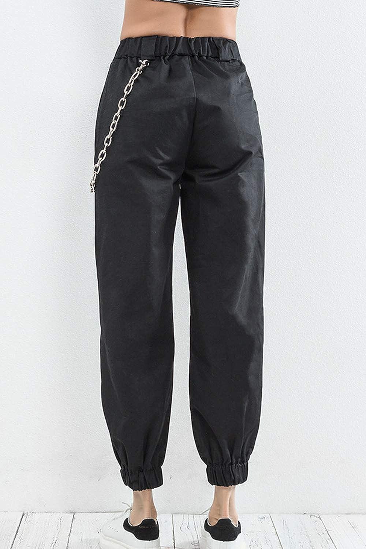 Mujer Yacun Mujer Casual Pantalones Cargo Pantalon Hip Hop Jogger Con Cadena Danza Streetwear Boyfriend Harem Ropa Grupobrtelecom Com Br
