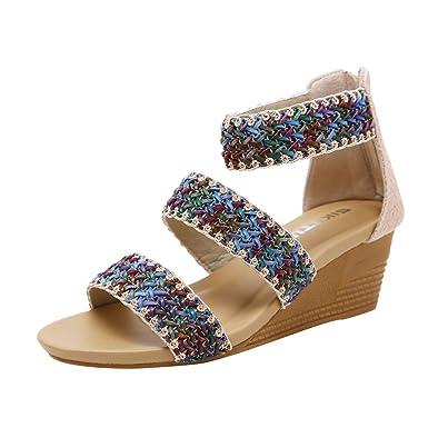 0e5b1f7ae9e5 chengzhijianzhu Womens Sandals Lady Soft Wedges Boho Summer Beach Low Heel  Casual Roma Grass Weaving Shoes