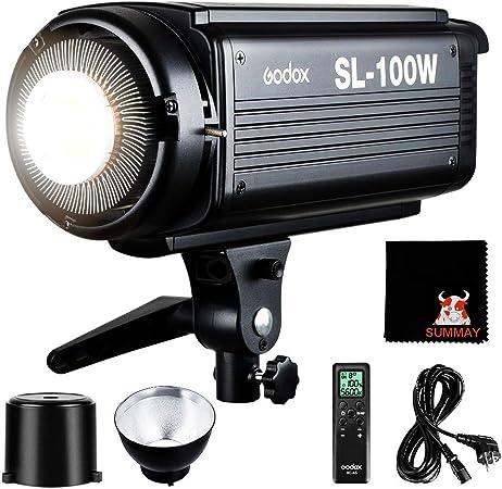 Todo para el streamer: GODOX SL-100W LED Luz Video 100W Foco Led 5600K Gran Potencia Bowens Mount para fotográfico Estudio Video Youtube Video Foto Studio(SL 100W LED Light)