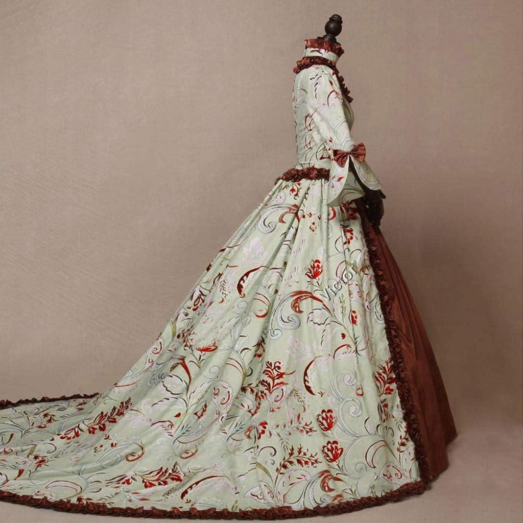 HebeTop Womens Victorian Rococo Dress Inspiration Maiden Costume Floor Length Renaissance Dress