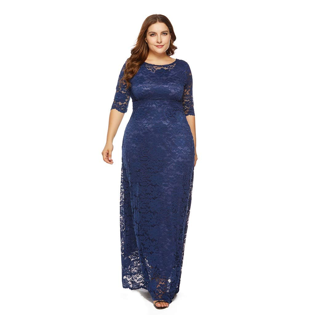 Kalinyer Women Floral Lace Party Gown Dress Summer Long Sleeves High and Tall Casual Plus Size Maxi Dress(Navy,XL)